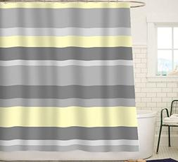 home kitchen shower curtain sets sunlit aqua blue gray horizontal stripes water repellent fabric shower curtain set with reinforced metal grommets and rings refreshing striped design bathroom decor