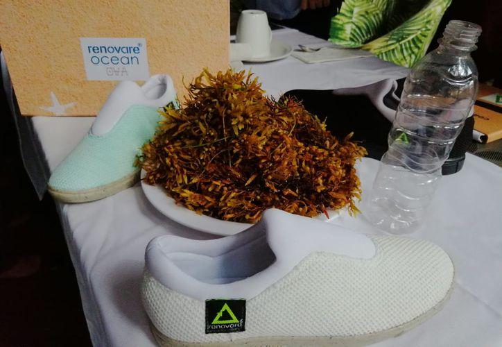 Estos son los primeros zapatos hechos con sargazo. (Paola Chimante/SIPSE)