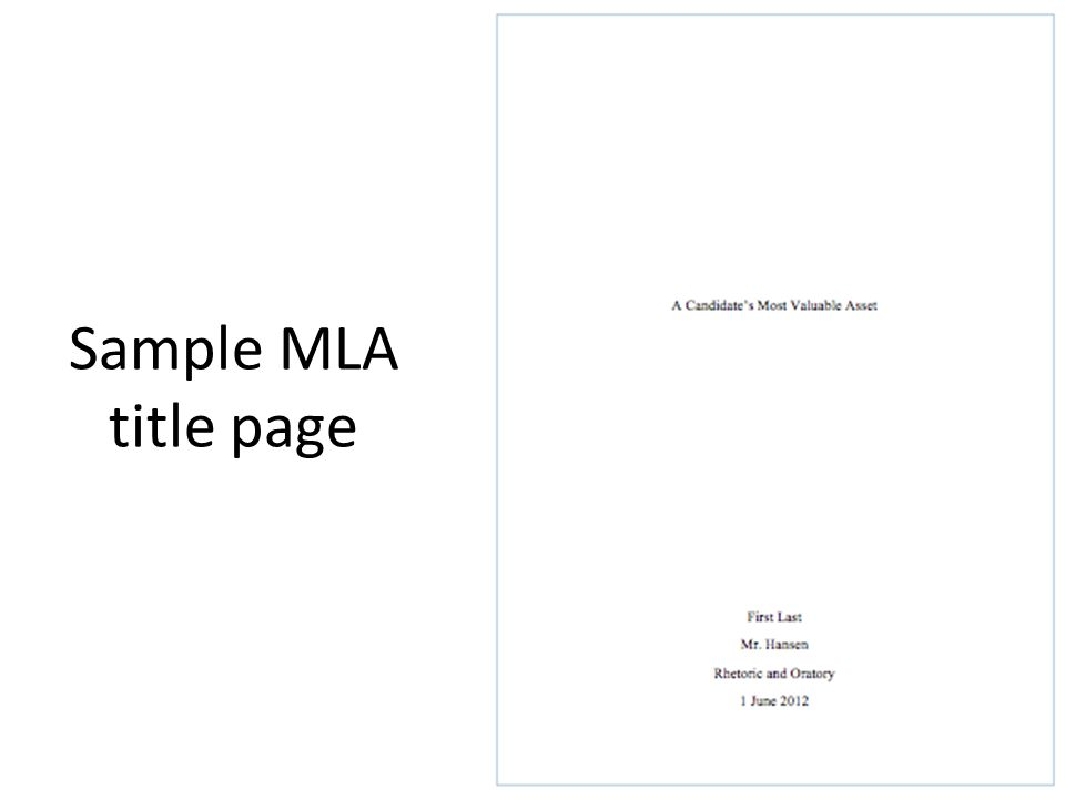 mla format paper cover page