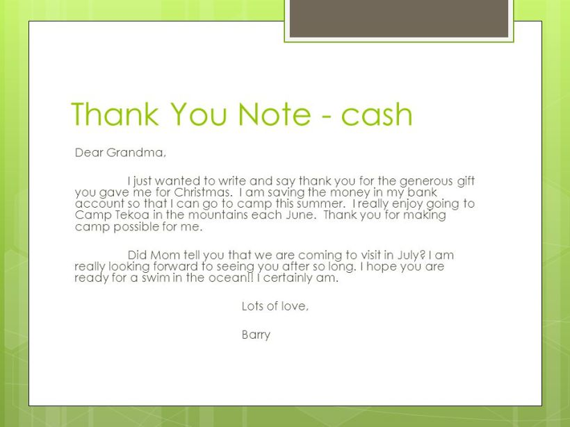 thank you for cash gift wording