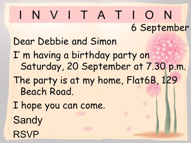 Invitation Letter For Birthday Party To Friend Image Collections - Informal invitation letter to a birthday party
