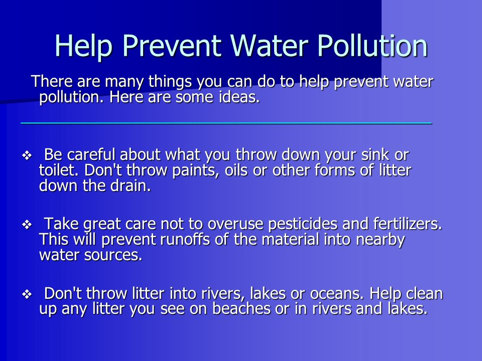 prevention of water pollution essay
