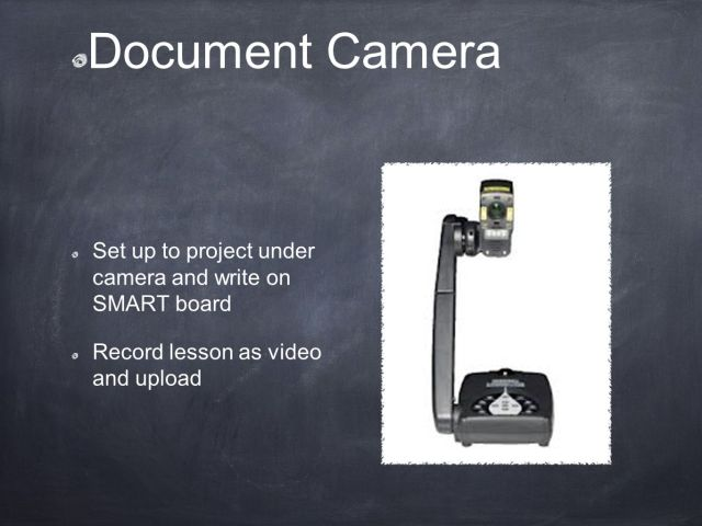 Technology in the Classroom. Document Camera Set up to project