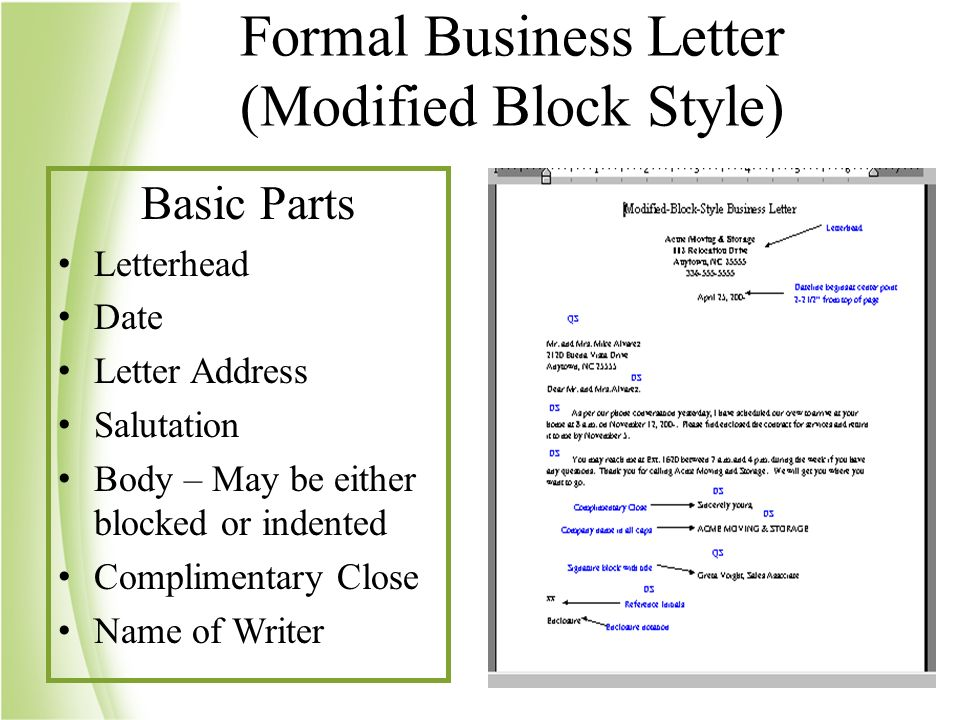 Full Block Format With Mixed Punctuation