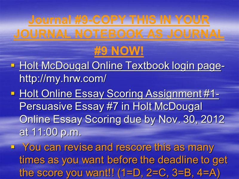 Holt Online Essay Scoring   Mistyhamel