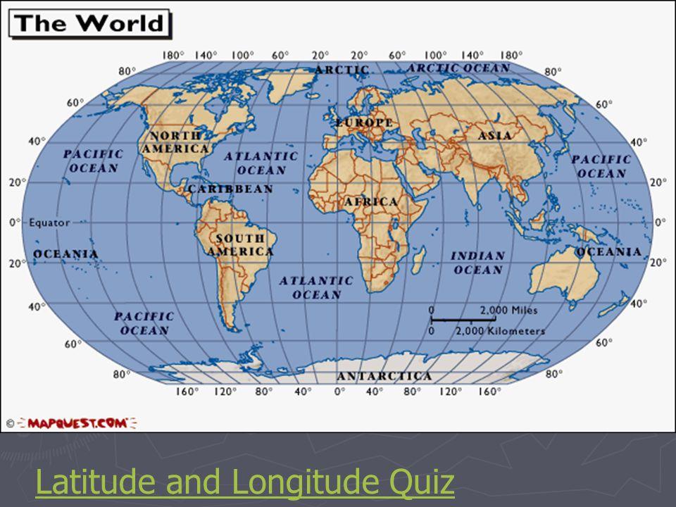 Latitude determination World Map with Longitude