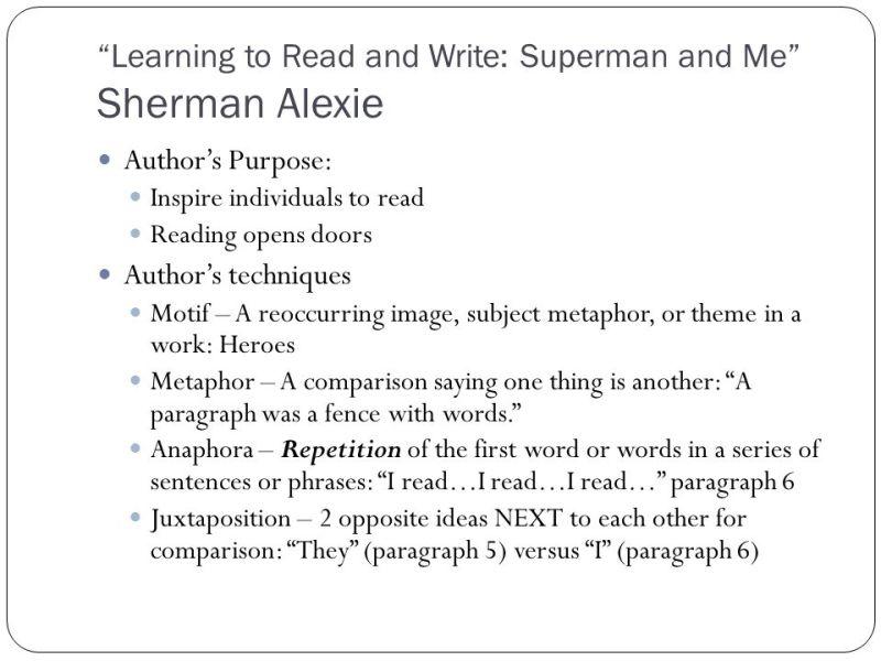 superman and me sherman alexie purpose