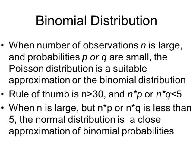7 Binomial Distribution When Number Of Observations N Is Large And Probabilities P Or