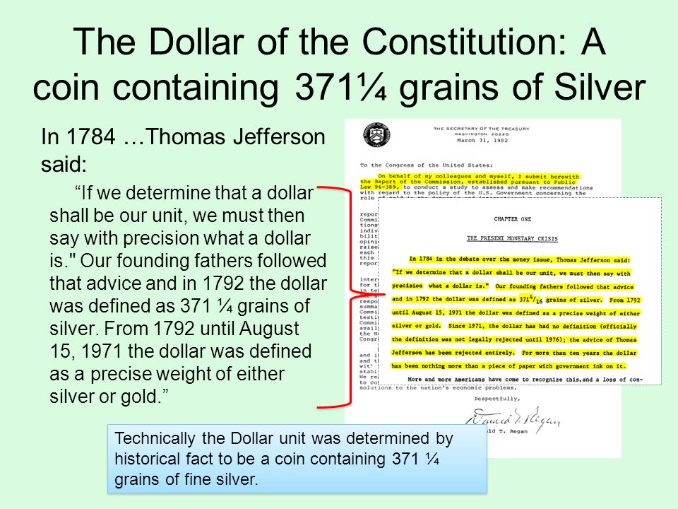 Image result for definition of the original dollar was 371.25 grains of silver