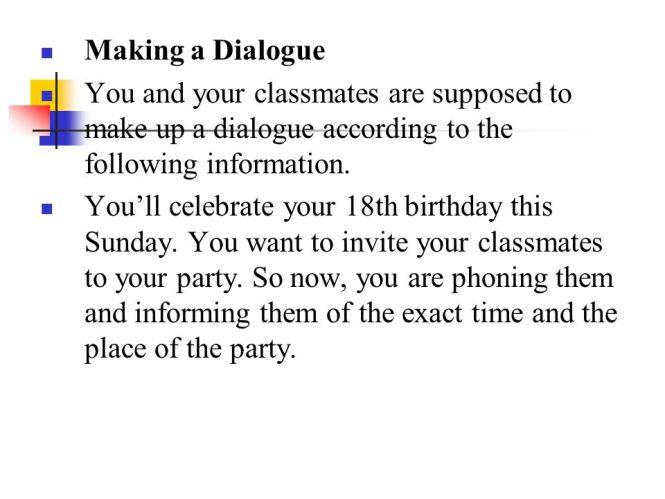 Example dialogue invitation birthday party cogimbo everyday english conversations making plans invitation dialogue example stopboris Choice Image