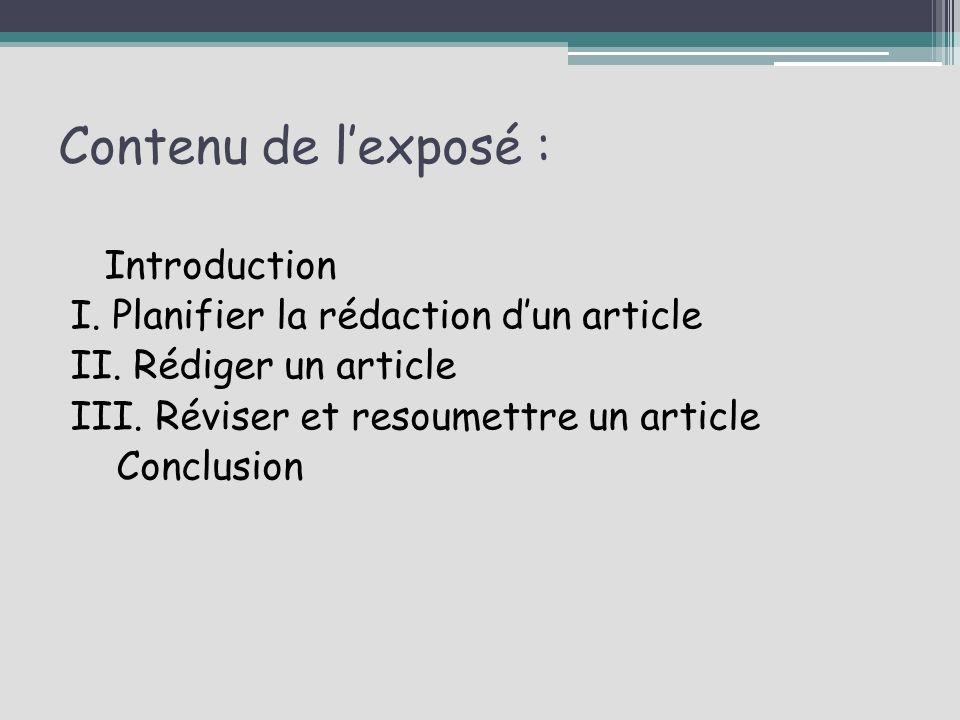 contenu de l expose introduction i planifier la redaction d un article
