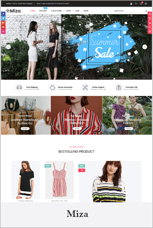 Miza - Multipurpose Clothing And Fashion Bootstrap 4 Shopify Theme With Sections