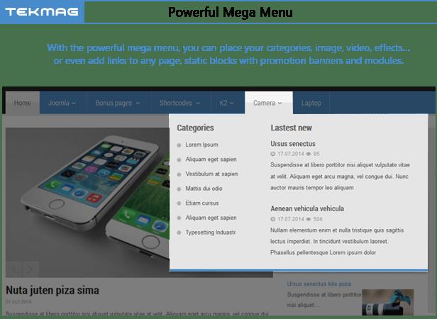 SJ Tekmag - Powerful mega menu