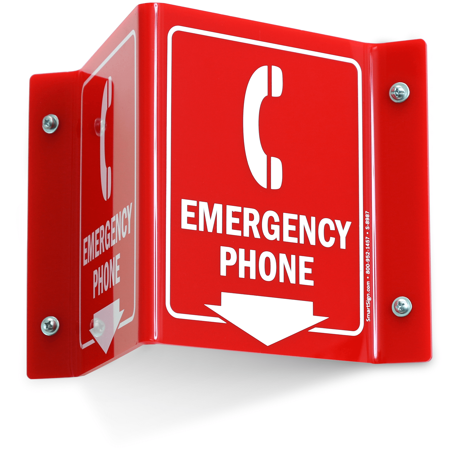 Emergency Phone With Down Arrow Sign