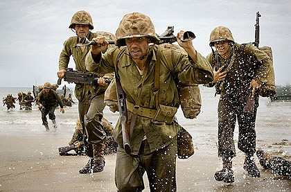 New band of brothers ... a scene from the blockbuster mini-series  <i>The Pacific</i>.