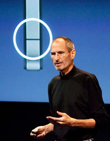 Steve Jobs, CEO of Apple Computer  Inc., speaks during a press conference regarding the Apple iPhone 4  reception problems at the Apple headquarters.