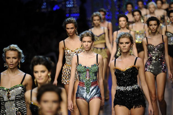 Dolce & Gabbana Spring-Summer 2012. The sparkling adornments were inspired by the illuminations decorating the Italian streets during festivals.