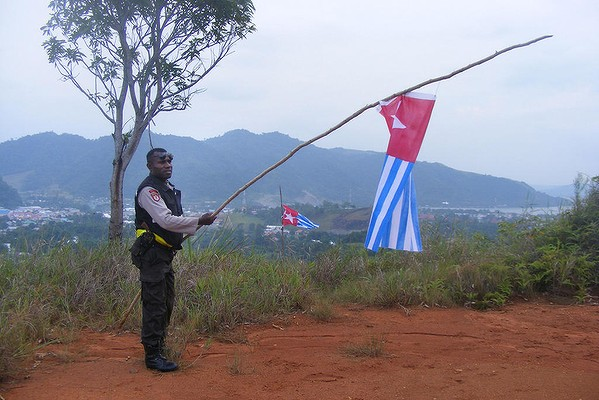 An Indonesian policeman takes down the banned Morning Star flag raised by Papuan demonstrators in Jayapura.