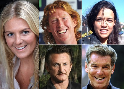 Supporters ... from left Stephanie Gilmore, Cameron Ling, Michelle Rodriguez, Sean Penn and Pierce Brosnan.