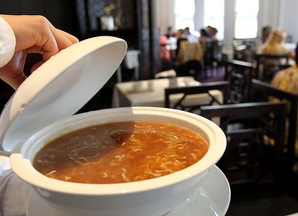 A bowl of Shark Fin Soup at Fat Buddha Chinese Restaurant in Queen Victoria Building in Sydney.