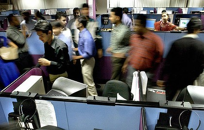 Indian employees of a 24-hour call centre in Bangalore.