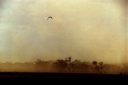 A dust storm passes over a property near Hay ... the Productivity Commission says land-tax exemptions on agricultural land could encourage farmers to keep working on marginal land even as it becomes unworkable because of climate change.