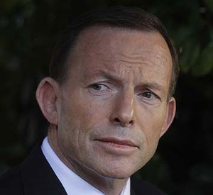 Opposition Leader Tony Abbott holds a media conference at a  Canberra home on Wednesday 22 August 2012. Photo: Andrew Meares
