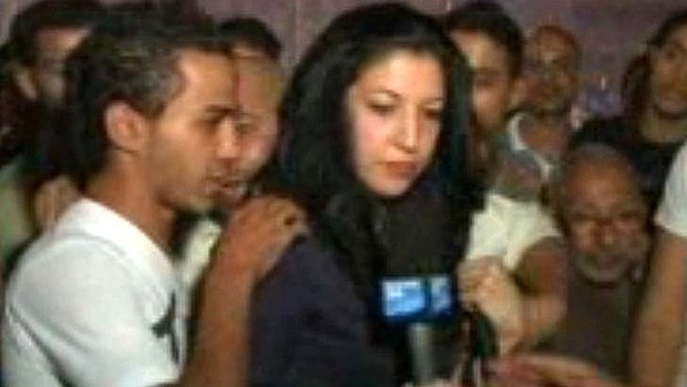 Groped ... Sonia Dridi was attacked after her live broadcast. The Muslim mob of up to 30 men swarm her like a pack of wild animals. The Egyptian sexual deviants trying to grope her and whisk her off as the cameras still rolled.