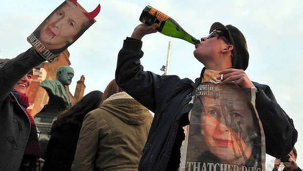 Celebrating: people gather during a 'party' after the death of Margaret Thatcher.