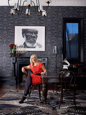 Catherine Martin in the combined lounge and dining room of the Darlinghurst home she shares with Baz Luhrmann and their two children.