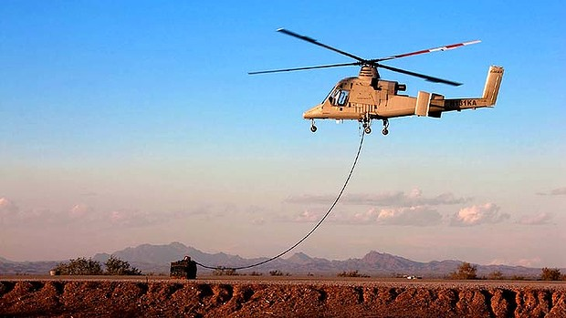 """Aerial truck"": The unmanned K-MAX can fly up to 2700 kilograms of cargo into war zones."