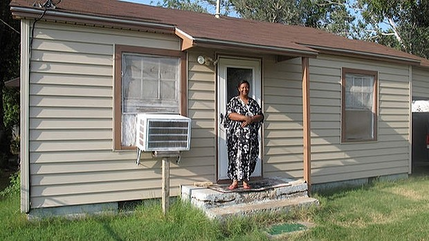 Sheila Haynes, whose son was allegedly targeted by the accused youths, at her home. The suspects were arrested nearby.