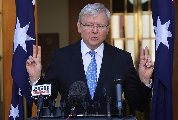 Prime Minister Kevin Rudd during a press conference at Parliament House in Canberra.