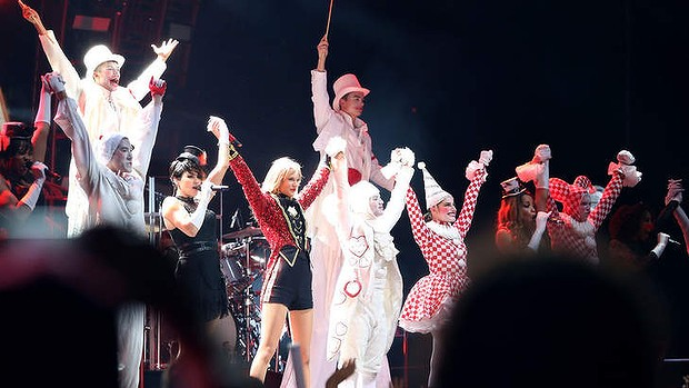 Great show ... Seven-time Grammy winner Taylor Swift (centre) kicked off the Australian leg of her Red tour at Allianz Stadium, playing to a sold-out crowd of more than 40,000 fans.