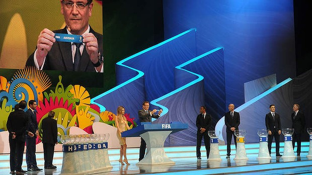 Fateful moment: FIFA Secretary General Jerome Valcke displays the Australian ticket during the World Cup draw in Costa do Sauipe, Brazil.