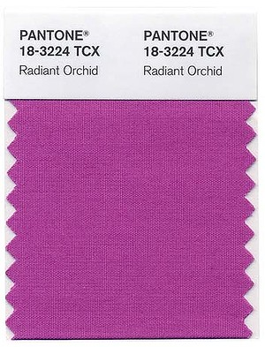 This photo provided by Pantone shows the Radiant Orchid color swatch for Pantone.