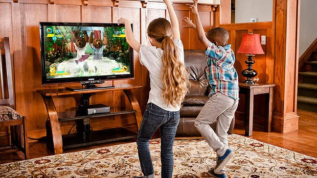 Children playing with Xbox Kinect