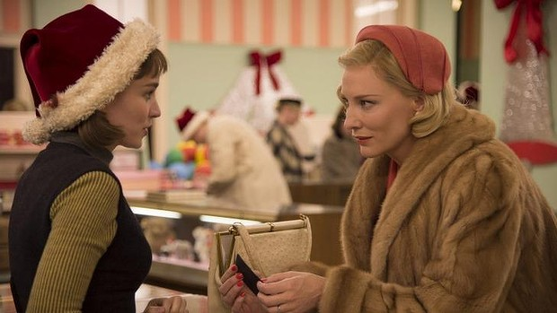 Rooney Mara, left, as Therese Belivet, and Cate Blanchett, as Carol Aird, in a scene from the lesbian romance drama, Carol.