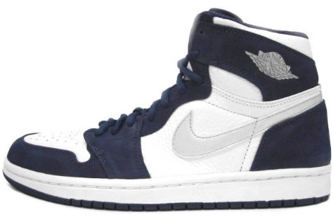 Air Jordan 1 High Retro White Metallic Silver Midnight Navy