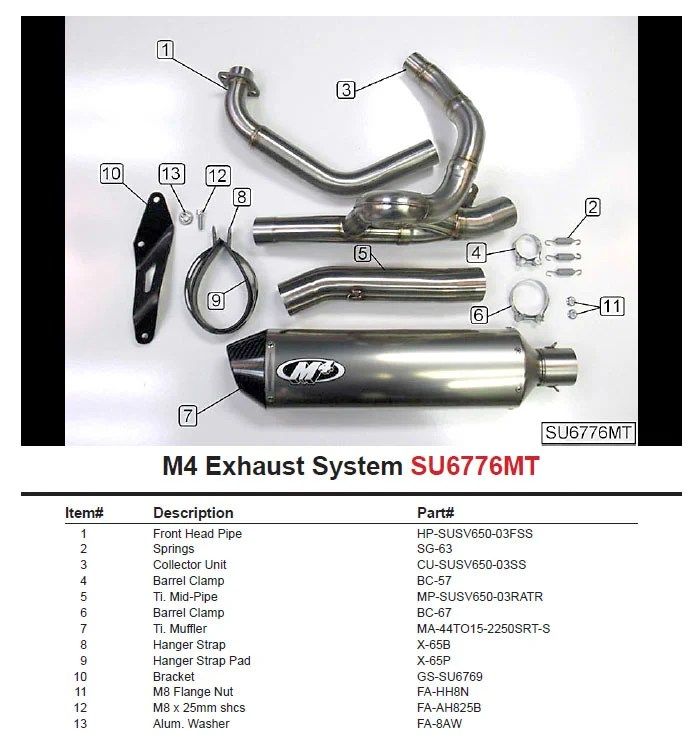 m4 race mount full exhaust system w titanium midpipe for sv650 04 11