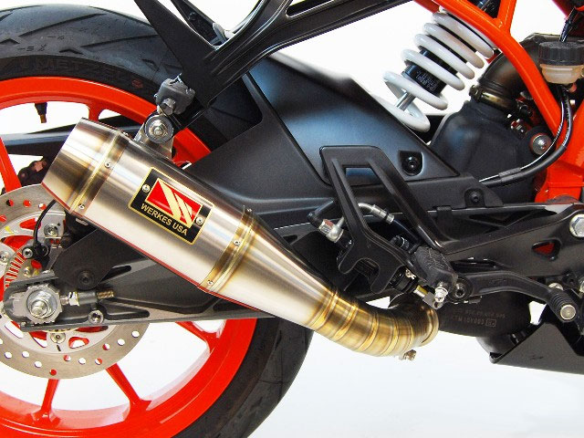 competition werkes gp slip on exhaust low mount for 390 rc 17 18