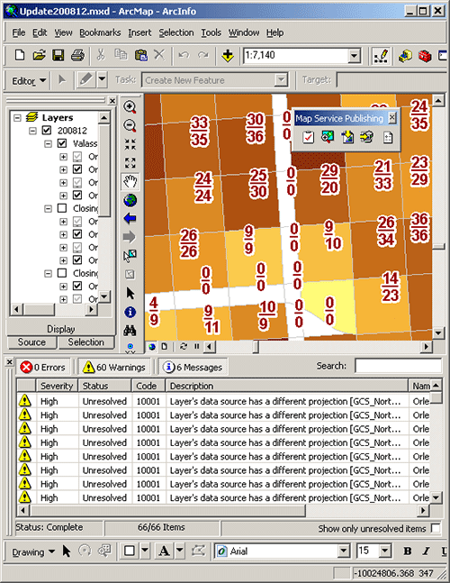 The new Map Service Publishing toolbar in action.