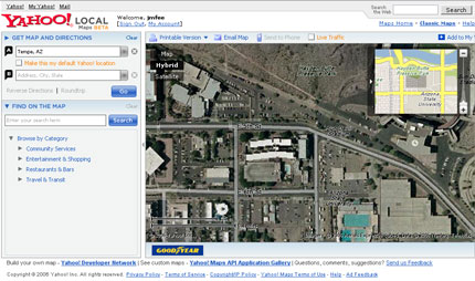 Yes, that is a satellite image in yahoo maps