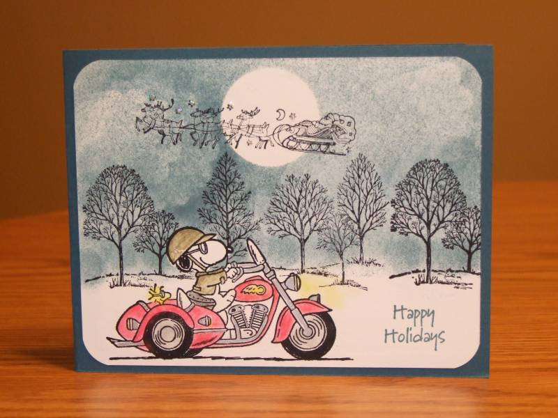 Motorcycle Themed Christmas Card Snoopy Amp Woodstock By
