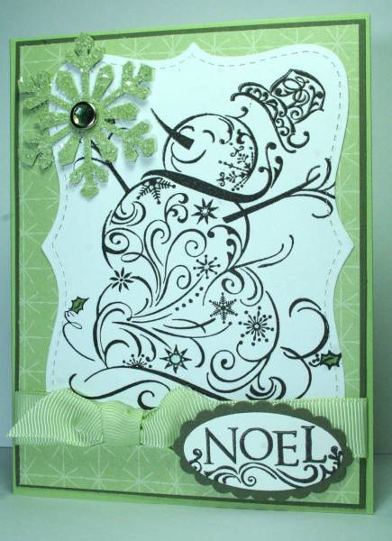 NOEL Swirly Snowman With Glittery Snowflake By