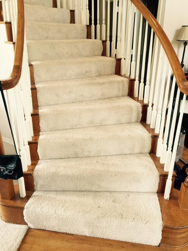 Should I Carpet My Stairs With The Same Carpet I Use Upstairs   Carpet Down Middle Of Stairs   Hardwood   Benjamin Moore   Carpet Runner   Landing   Stair Tread