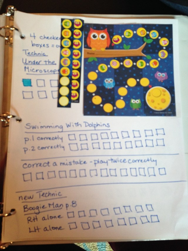 Clementine's assignment book with the  Owl Incentive Chart  and stickers for her to use at home.