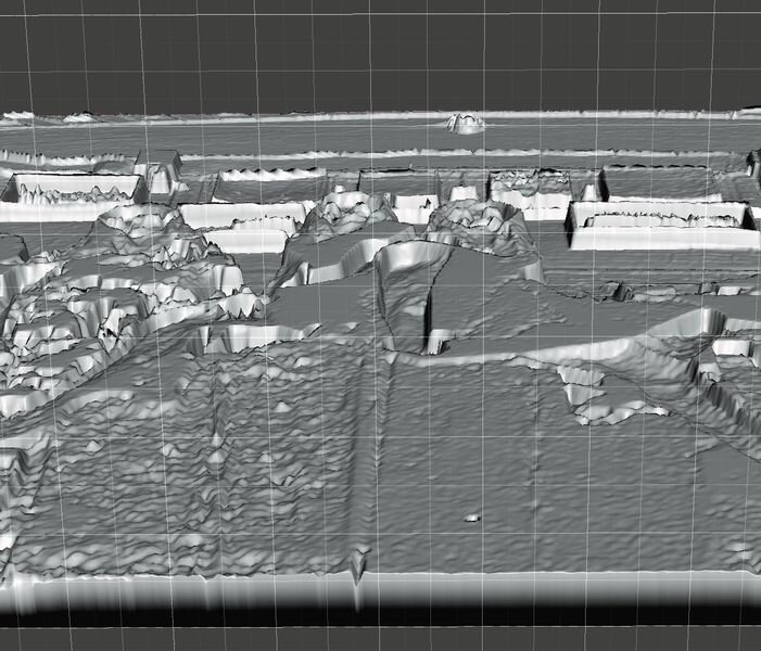 Oblique view of the lithophane 3D model at top showing the various depths required to create light patterns [Source: Fabbaloo]