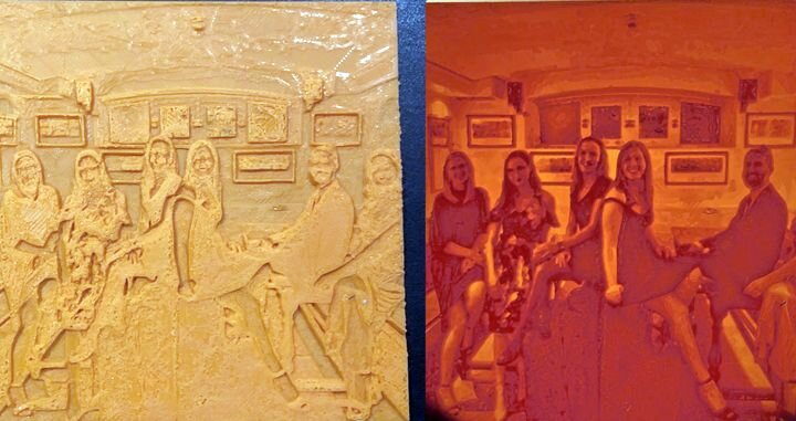 Here's my lithophane result. Normally-lit 3D print on the left, with the same print back-lit on the right. Amazing detail! [Source: Fabbaloo]
