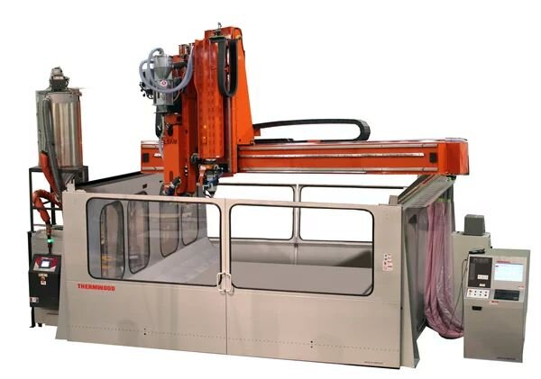 The LSAM 1010 large-scale 3D printer. Note open top [Source: Thermwood]